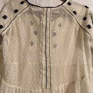 Free People Tops - Free people lace shirt with black trim size M